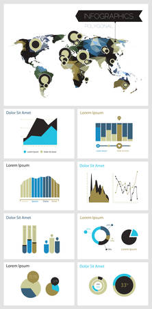 Infographics template with polygonal world map Illustration