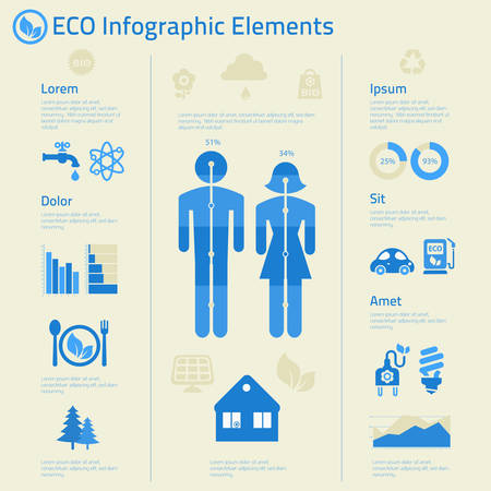 issues: Flat design human issues ecological infographics template