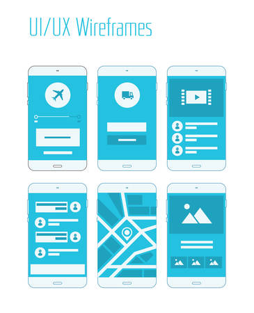 Mobile UI and UX Wireframes Kit Иллюстрация