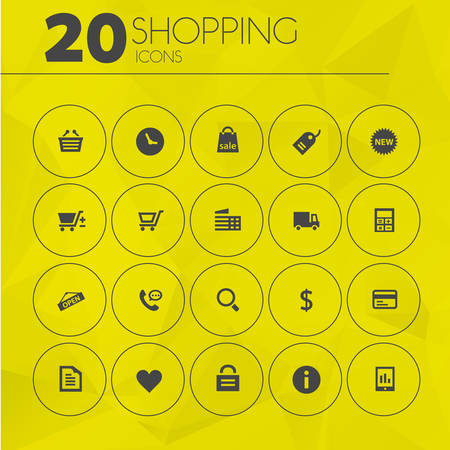 call log: Simple thin shopping icons collection