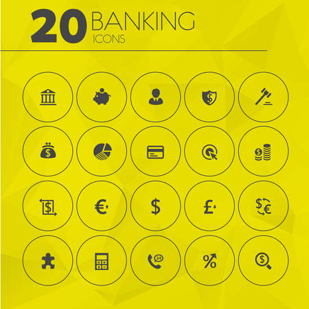 e auction: Simple thin banking icons collection