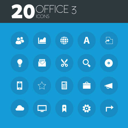 blue buttons: Office 3 icons on round blue buttons