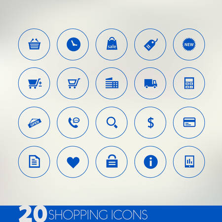 call log: Shopping blue icons on light background