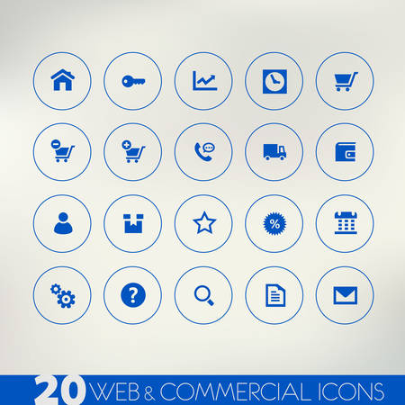 call log: Web and commercial blue icons on light background