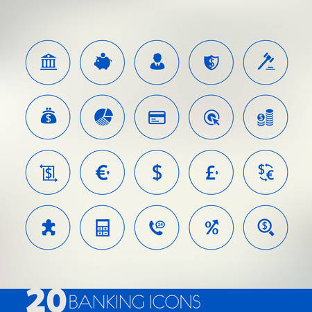Banking blue icons on light background