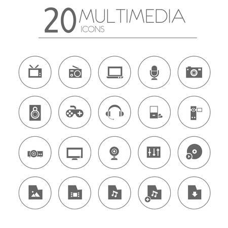microfono de radio: Simple colecci�n de iconos multimedia delgadas sobre fondo blanco