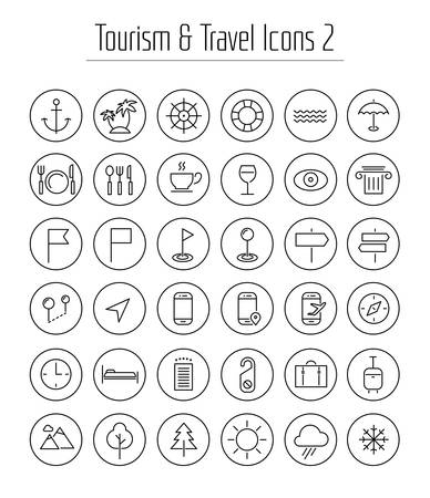 Travel, tourism and weather icons, set 2 Иллюстрация