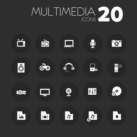icone multimediali: Thin multimedia icons on dark gray Vettoriali