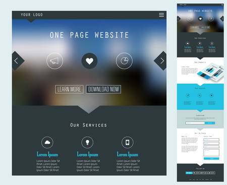 Jedna strana webových stránek Design Ilustrace