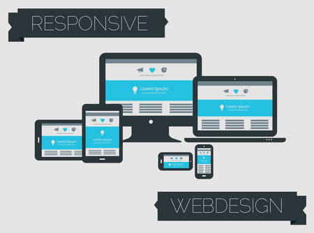 responsive design: Responsive webdesign technology page design template concept