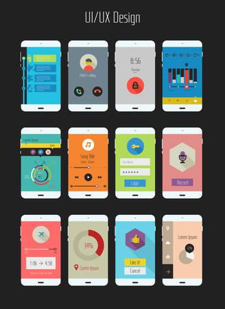 ui design: Modern flat design UI mobile application templates