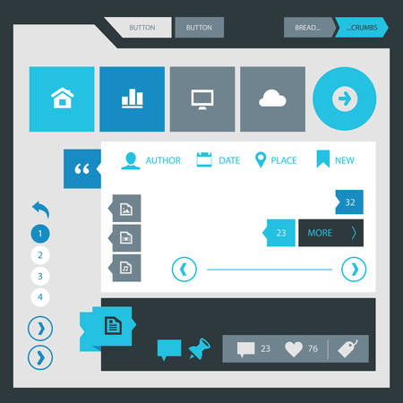 serie: Flat design UI UX simple template collection, gray blue serie