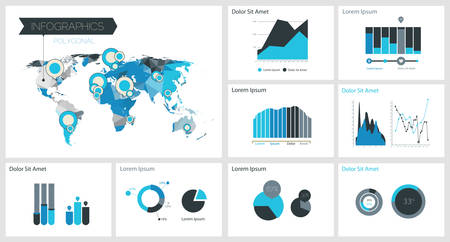 infocharts: 3d vector polygonal world map and infographics templates, infocharts, diagrams, 10 EPS