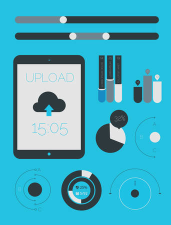 ui design: Flat design UI UX template and infographics elements collection