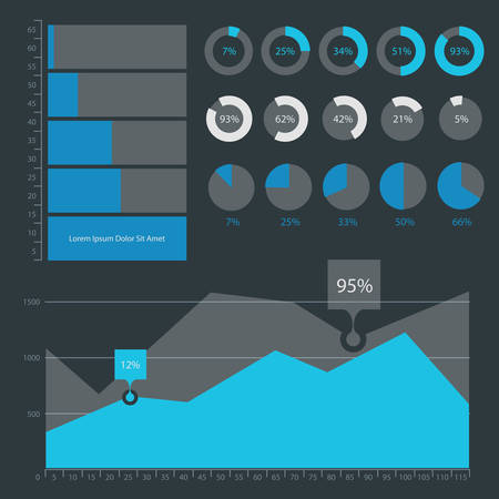 Flat ui design infographics template collection on dark background