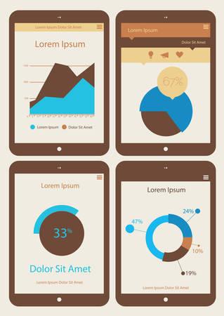 ui design: Flat ui design infographics template collection on Tablet PC Illustration