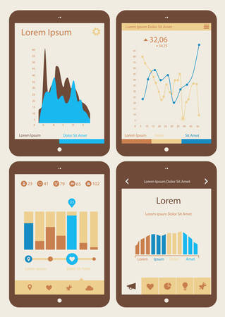 Flat ui design infographics template collection on Tablet PC Illustration