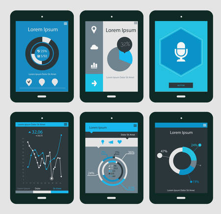 Flat ui design infographic templates on Tablet PC, EPS 10 일러스트