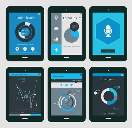 Flat ui design infographic templates on Tablet PC, EPS 10 Illustration