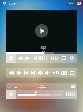 mp3 player: Flat ui design media player application template for tablet pc or smartphone, on blurred background