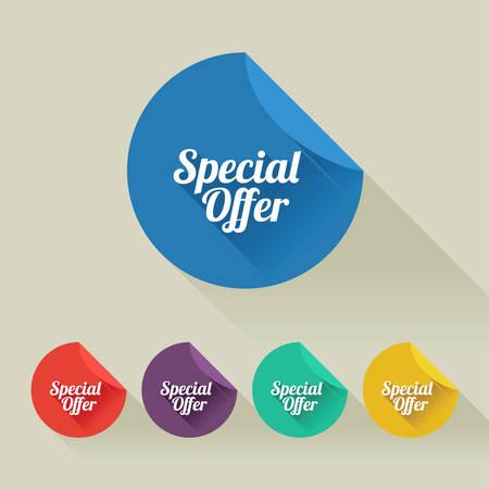 Platte ontwerp verkoop korting Speial Aanbieding knoppen collectie met lange schaduw. Alle schaduwen zijn transparant, 10 EPS