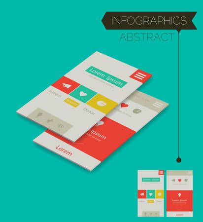 Abstract 3d isometric infographics element on modern emerald background, 10 EPS
