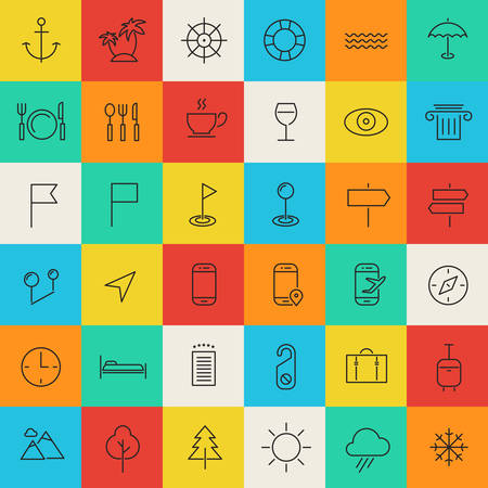 Vector set of modern inline thin icons of travel and tourism metaphors, set 2 Vector