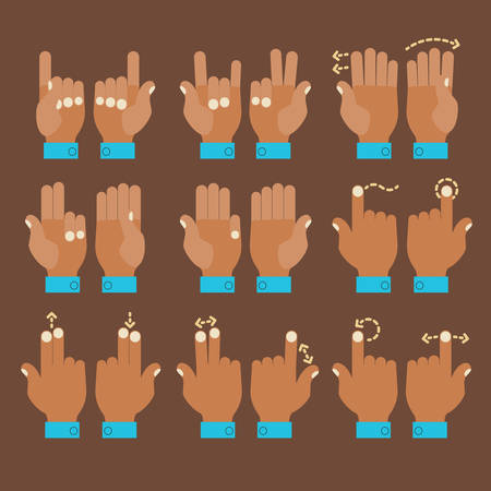 Flat design modern cartoon style multitouch gestures hands icons Illustration