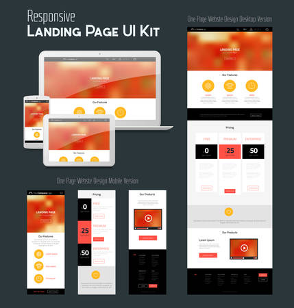 Responsive landing page or one page website template with mobile and desktop versions and high-detailed laptop, tablet and smartphone mock-up Vector