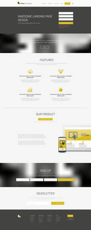 Responsive landing page or one page website template in flat design with modern blurred header background Illustration