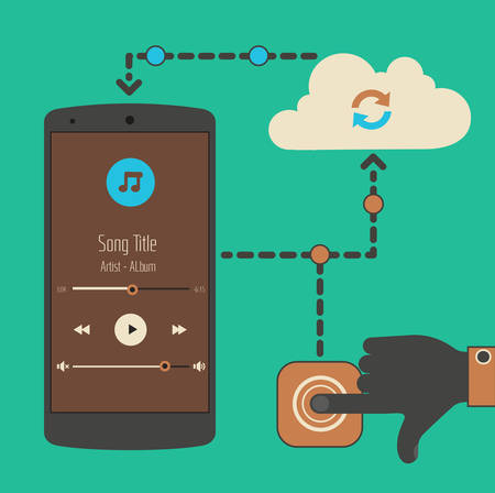Flat design modern concept of mobile media player with cloud technology touch synchronization