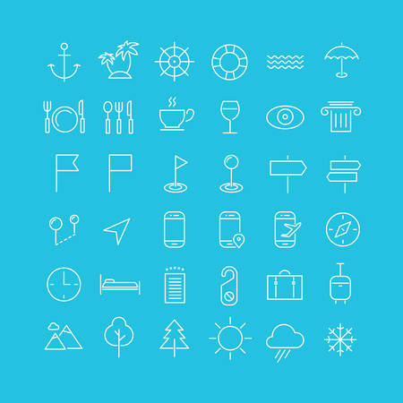 Vector set of modern inline thin icons of travel and tourism metaphors, set 2 Illustration