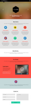 Responsive landing page or one page website template in flat design with modern blurred header background Vector