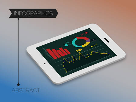 3d isometric infographics concept on blurred background, 10 EPS Illustration