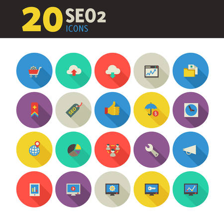 reputation: Modern flat design SEO set 2 icons on colored round buttons wih long shadow