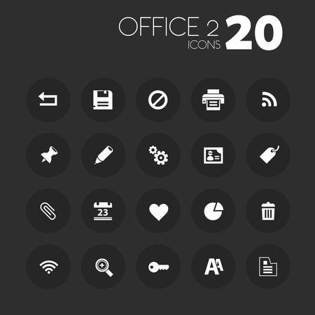 office buttons: Simple thin office set 2 icons on dark gray buttons Illustration