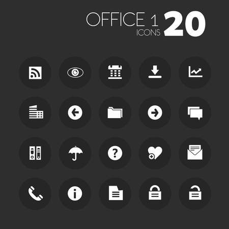 Simple thin office set 1 icons on dark gray buttons