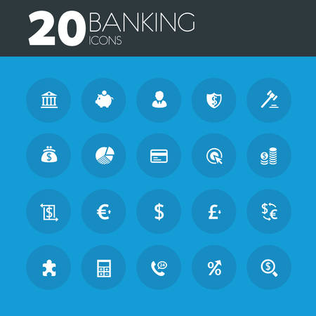 blue buttons: Simple thin banking icons collection on round blue buttons Illustration
