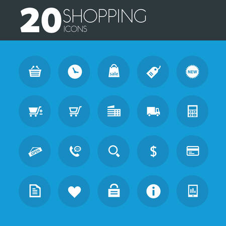 call log: Simple thin shopping icons collection on round blue buttons