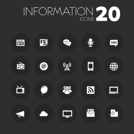 Thin information icons on dark gray