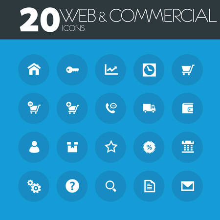 time account: Web and commercial icons on round blue buttons Illustration
