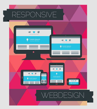 responsive design: Responsive webdesign technology page design template on geometrical background