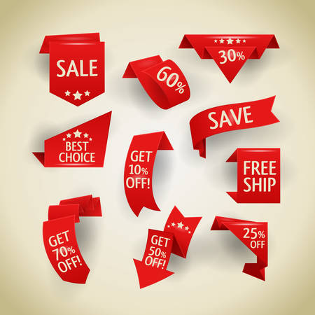 red sign: Collection of sale discount origami styled website ribbons