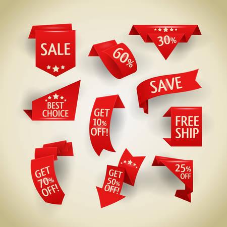 Verzameling van verkoop korting origami vormgegeven website linten