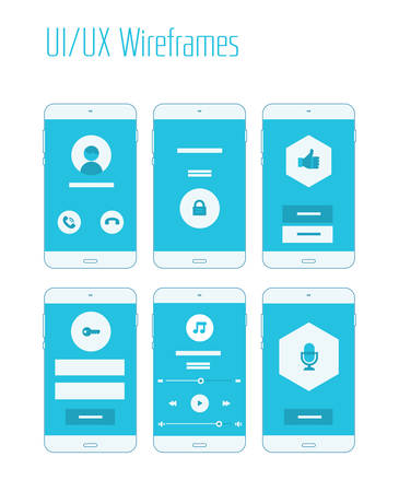 Mobile UI and UX Wireframes Kit Фото со стока - 40590706