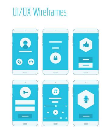 Mobile UI and UX Wireframes Kit Illustration