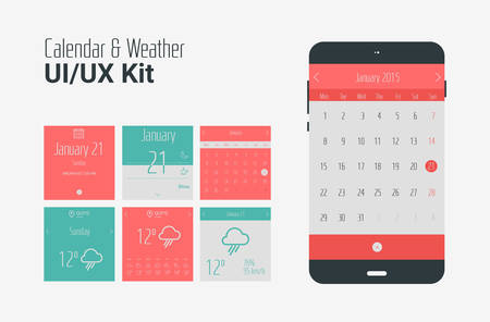 wordpress: Flat UI or UX mobile calendar and weather apps kit