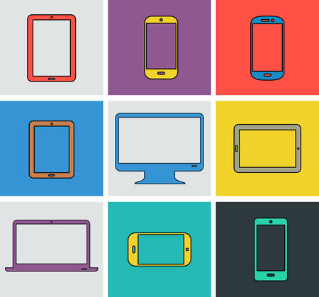 gadgets: Flat modern colored electronic gadgets