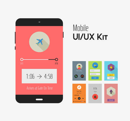 Flat Ui or UX mobile apps kit Фото со стока - 40590713