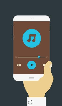 musica electronica: Ilustración vectorial de la mano que sostiene el dispositivo móvil con la aplicación del reproductor multimedia